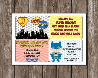 Comic Book Frames//Superhero Printable Birthday Party Invitation