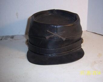 1970-90's Repro Leather Civil war Kepi Hat Union Crossed Rifles Movie Prop