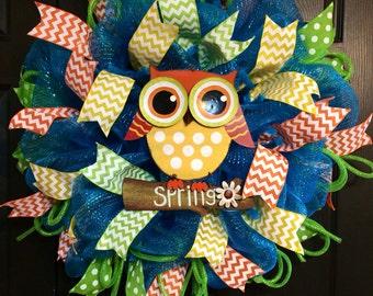 Owl Spring summer wreath