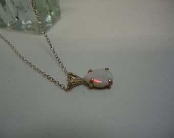 Cabochon Pear Cut Opal Necklace in Sterling Silver  #1050
