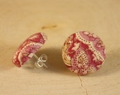 Pink Button Earrings- Abstract Pink Floral Paisley Fabric Button Earrings- Post/ Stud