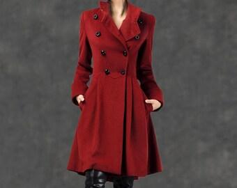 Military Coat, coat, fit and flare coat, swing coat, coats, red coat, custom coat, wool coat, winter coat, womens wool jackets (C788)