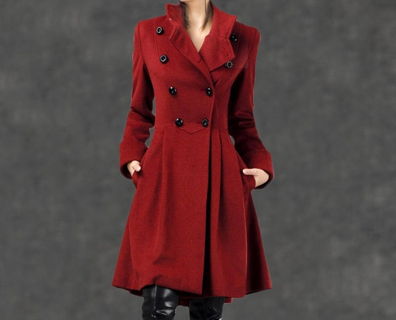 Red Military Coat Fit-and-Flare Cashmere Wool Swing Coat