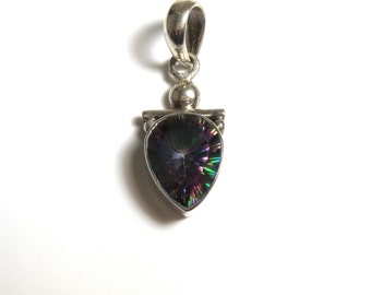 Sterling Silver Aurora Borealis Tear Drop Pear Shape Pendant - Weight 6.5 Grams # 2261 - REDUCED