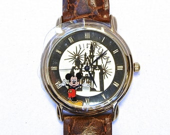 Vintage Mickey Mouse Disneyland Cinderella Castle Watch by Time Works with Box and Tin - NIB - New in the Box