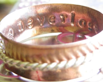 Neverlost copper and sterling silver spinner spinning fidget worry ring