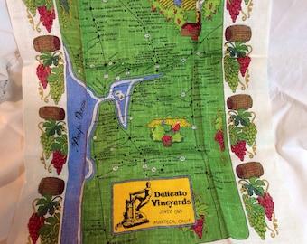 Vintage Linen California Souvenir Tea Towel, Kay Dee Hand Prints, 100% Pure Linen, Never Used, 1960s