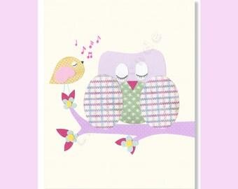 Baby Girl Nursery Prints, Nursery Wall Decor, Owl Nursery Prints, Purple Nursery Print, Birds Prints, Art For Kids, Purple And Yellow