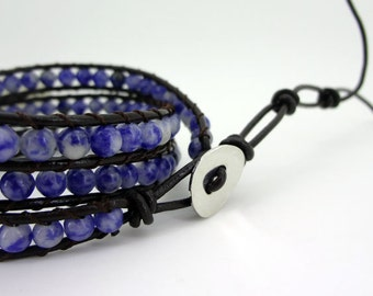 3 Wrap Blue  White Ceramic  Bead Leather Wrap Bracelet