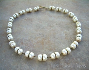 Designer Sterling Silver and Freshwater pearl Necklace, Pearl Bridal necklace, OOAK Vintage