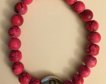 Pink Crackle Breast Cancer Bracelet