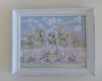 French Cottage Chic Garden  Arbor  Picket Fence Water Color Picture