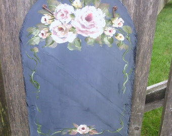 Charcoal Grey  Slate with Pink &  Mauve \ Cranberry  Roses  with Moss Green   Leaves