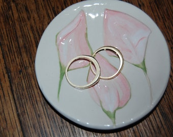 Pottery Ring DishJewelry Wedding Ring Holder Pink Cream Lily Ceramics Made in UK