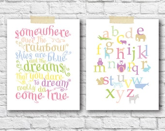 Baby Girl Nursery Art Prints 2 PC Set Art Posters, Somewhere over the Rainbow & Animal Alphabet Pastel Pink Lime Purple Nursery Owl Elephant
