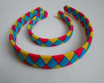 Bright Matching woven headband for American Girl Doll and child