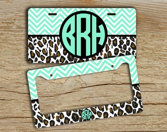 BFF Gifts, Monogram license plate or frame front car tag, Light mint green aqua cheetah. Vanity license plate Monogrammed bike plate  (1164)