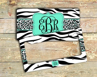 Mint monogram license plate or frame - Mint green with zebra print - Personalized car tag - Monogrammed bicycle plate bike accessory  (1013)