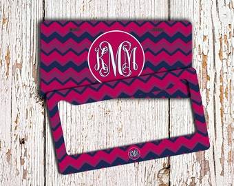 Monogrammed chevron license plate - Purples maroons chevron car tag  - Monogram chevron car tag - Front license plate bicycle plate (9867)
