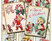 INSTANT DOWNLOAD, Printable Christmas Tags, Digital Collage Sheet, Retro Vintage DIY Gift Tags, Labels, aceo atc