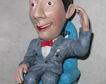 """vintage 8"""" pee wee herman and chairy figurine"""