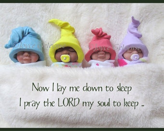 Printable Nursery Decor, Christian Prayer, Photo of OOAK Polymer Clay Bundle Babies, Download Instantly, Art Print, Card, eCard,You Print