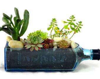 Bombay Sapphire Blue Gin Bottle Garden Succulent Planter - Bottle Only