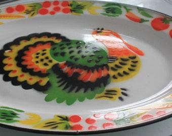 Large vintage enamel tray featuring turkey