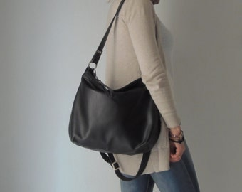 Black leather bag - Black leather hobo - Soft leather bag - MEDIUM HELEN