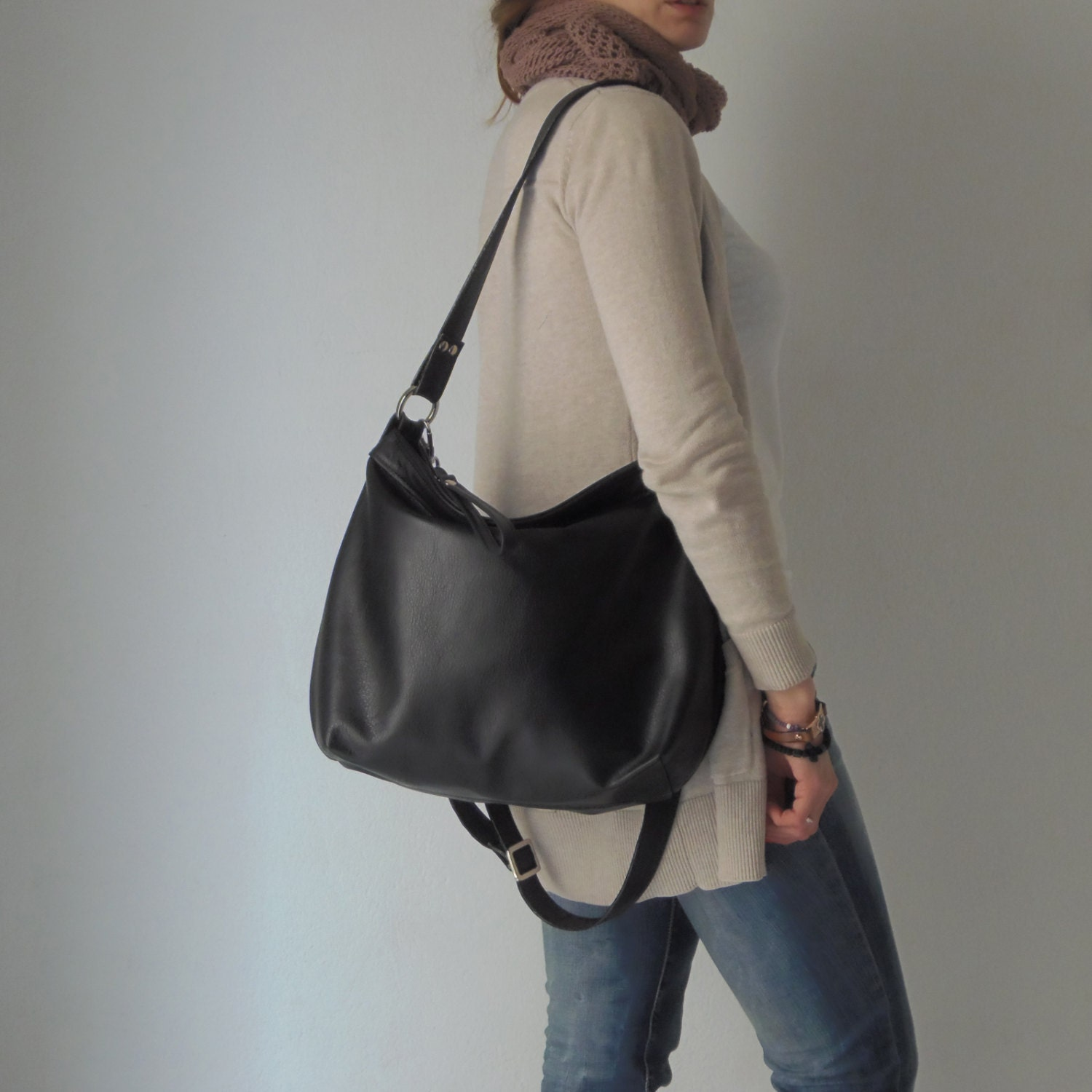 Black leather bag Black leather hobo Soft leather bag