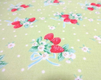 Japanese fabric Strawberry Ribbon Light Green FQ