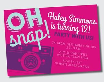 Oh Snap! Retro Camera Birthday Invitation