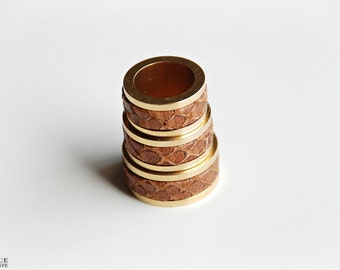 Leather Ring - Caramel & Gold