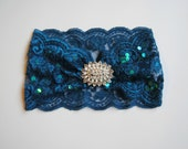 Teal Sequin Lace Turban Headband / Headwrap / Stretchy Turban Headbands / Girl Kids Women Children Adult / Photo prop / Sparkly Rhinestone