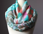 Abstract print scarf, spring scarf, light scarf in Mint