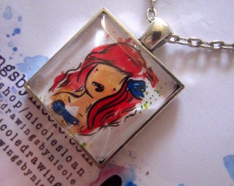 The Little Mermaid Disney Inspired Square Shaped 1 inch Pendant, domed glass pendant on chain.