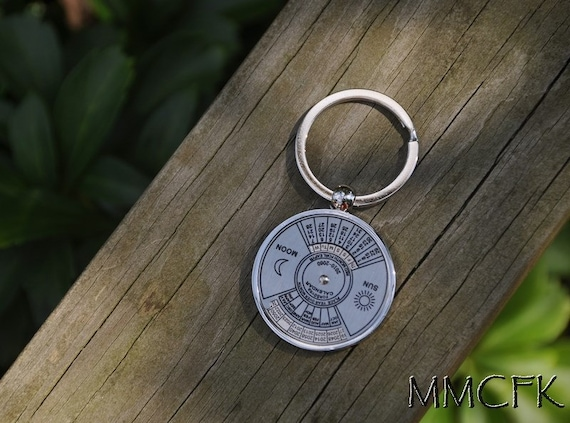 Year Calendar Keychain : Perpetual calendar keychain key ring years gift for by
