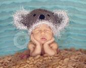 Crochet koala bear hat, Koala hat, Baby hat, Animal hat, Grey, Infant, Photo prop, Baby koala hat