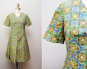Vintage 1960s 'Vivid Prism' Dress  / 60s Silk Taffeta Printed Cocktail Dress / Pleated Skirt