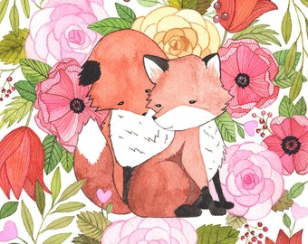 Fox Love Illustration - Vertical
