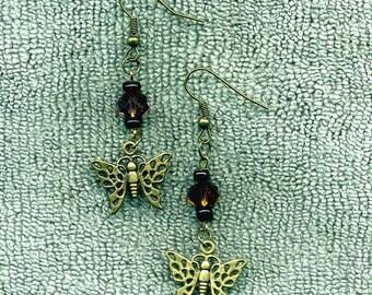 Dainty Bronzed Butterfly New Earrings Lovely Unique Jewelry