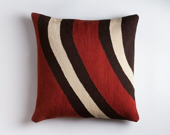 Contemporary Kilim Floor Pillow - Handwoven Wool Brooklyn Designed Turkish Made