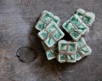 green U.S. postage stamp bundle