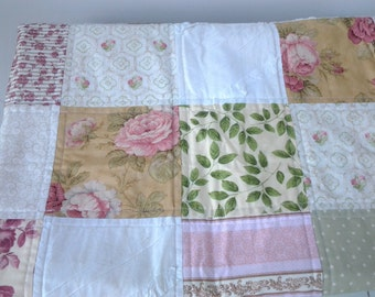 Shabby Chic Baby Quilt, Cottage Chic Nursery Bedding, Girl's Baby Quilt, Girl Nursery Bedding, Wheelchair Quilt Small Throw Quilt