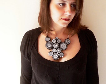Black and white necklace handmade with felt spirals and swarovsky cabochon. ooak made in Italy