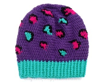 Slouchy Leopard Beanie - Purple, Cerise, Turquoise or Red & White Animal Print Hat - Crochet Leopard Hat
