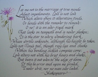 Shakespeare Sonnet 116 - Personalized Calligraphy - Calligraphy Illustrated with Watercolors - 11x 14 wall art