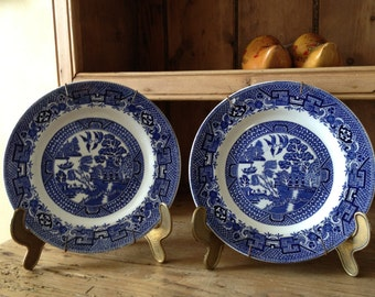 Beautiful Pair of Vintage English Blue Willow Plates