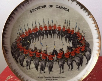Vintage Royal Canadian Mounted Police Souvenir Plate of Canada