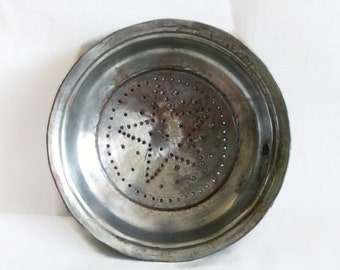Strainer vintage copper colander sieve bowl. Hand punched, five pointed STAR, forged kitchenware, Country house kitchen home decor, handmade
